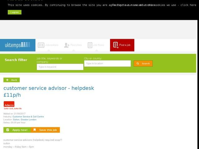 customer service advisor - helpdesk £11p/h