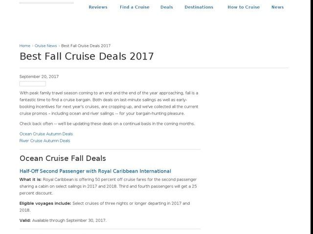 Best Fall Cruise Deals 2017