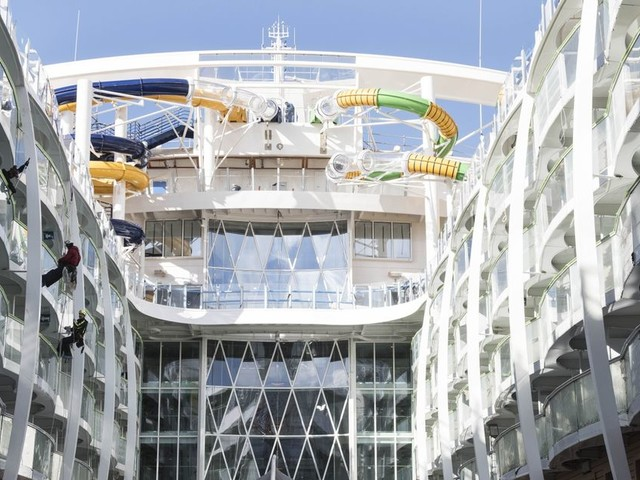 Take a sneak peek inside Royal Caribbean's Symphony of the Seas in behind-the-scenes snaps from the shipyard