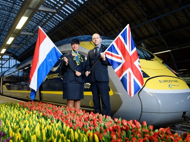Eurostar departs for Amsterdam for first time