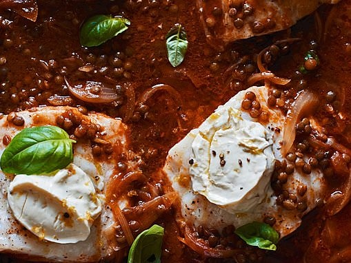 Make it easy with Marcus Wareing: Baked haddock with lentils, basil and mascarpone