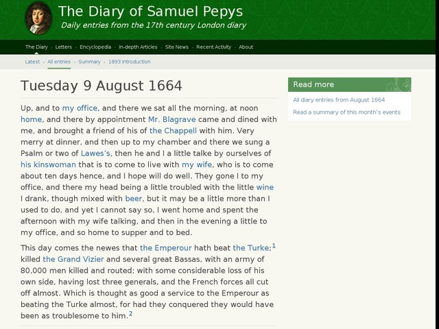 Tuesday 9 August 1664