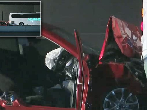 Three teenagers fighting for life after their car crashes into a stationary Sydney bus