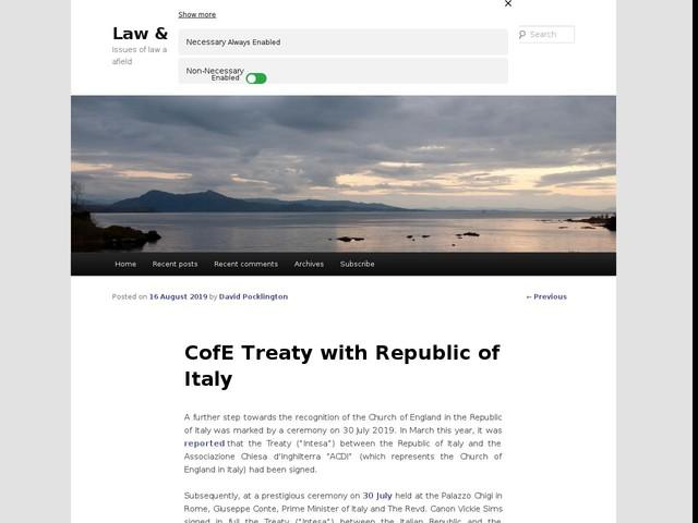 CofE Treaty with Republic of Italy