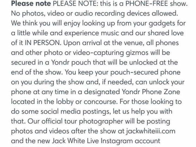 Jack White bans mobiles and filming at gigs – thoughts please