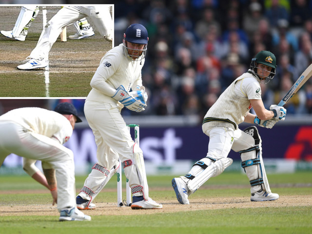The Ashes: Jack Leach has Steve Smith caught behind sparking wild celebrations around Old Trafford – before replays showed it was a no-ball