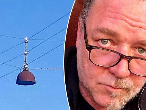 Russell Crowe leaves fans puzzled after sharing a nondescript picture of electricity wires