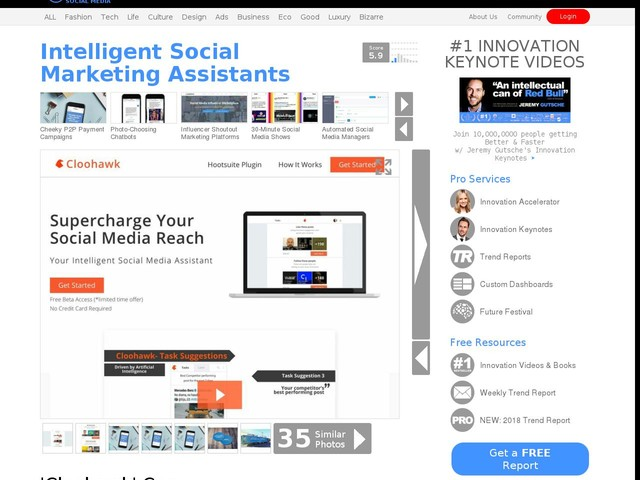 Intelligent Social Marketing Assistants - 'Cloohawk' Can Increase Your Social Media Reach (TrendHunter.com)