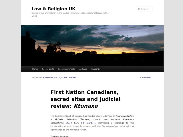 First Nation Canadians, sacred sites and judicial review: Ktunaxa