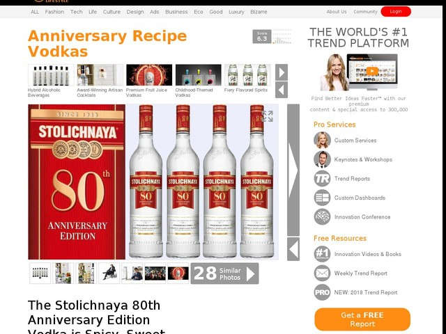 Anniversary Recipe Vodkas - The Stolichnaya 80th Anniversary Edition Vodka is Spicy, Sweet and Dry (TrendHunter.com)