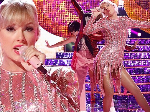 Taylor Swift performs new single Me! in shimmering pink dress with fringe skirt on The Voice finale