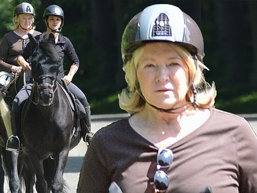 Martha Stewart takes in the sunshine with as she enjoys relaxing horseback ride