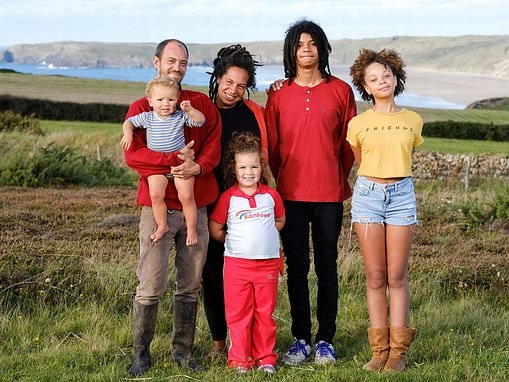 Family of six have left the rat-race and live a self-sufficient life on a coastal cliff