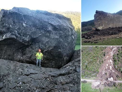 Enormous boulder the size of a house falls onto Colorado highway