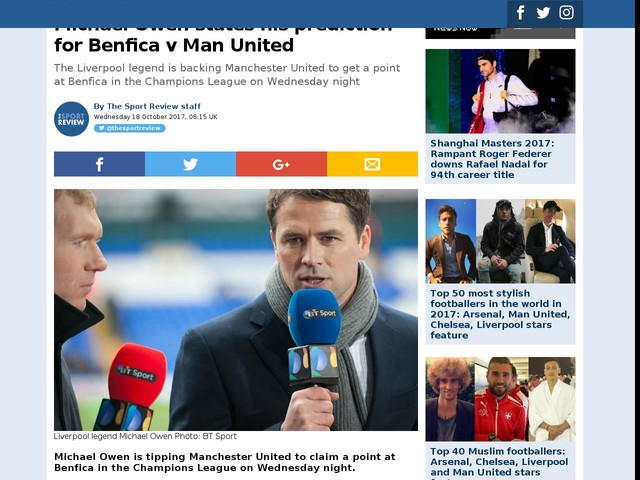 Michael Owen states his prediction for Benfica v Man United