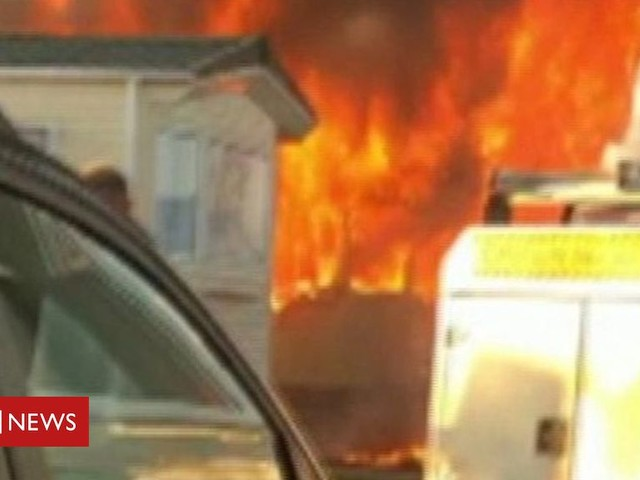 Caravan destroyed by fire at Trecco Bay holiday park