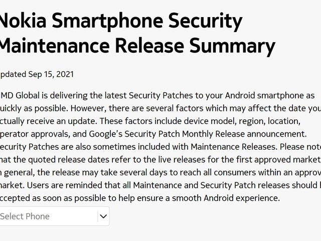 Nokia Mobile updated the official update tracker on September 15