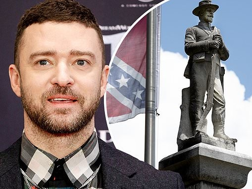 Justin Timberlake calls for the removal of Confederate statues and to stop 'protecting slave owners'