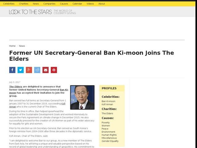 Former UN Secretary-General Ban Ki-moon Joins The Elders