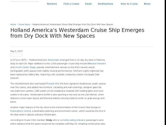 Holland America's Westerdam Cruise Ship Emerges from Dry Dock With New Spaces