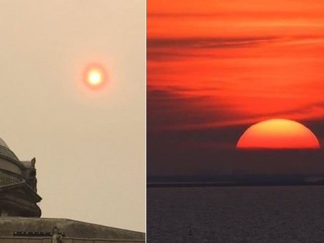 Liverpool bathed in strange red glow due to 'hurricane sun' - live updates
