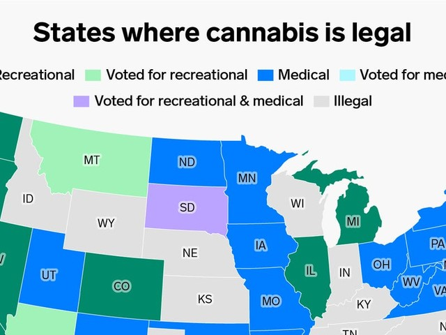 All the states where marijuana is legal — and 5 more that voted to legalize it in November