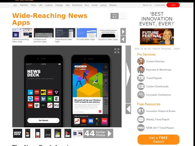 Wide-Reaching News Apps - The NewsDeck App is Powered by NewsAPI.org and Built by Mokko.io (TrendHunter.com)
