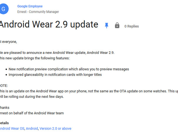 Android Wear 2.9 update for the phone app to roll out within days