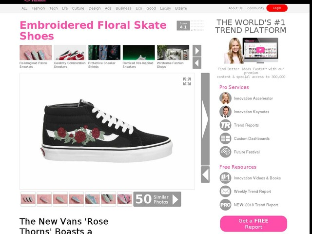 Embroidered Floral Skate Shoes - The New Vans 'Rose Thorns' Boasts a Slightly Gothic Aesthetic (TrendHunter.com)