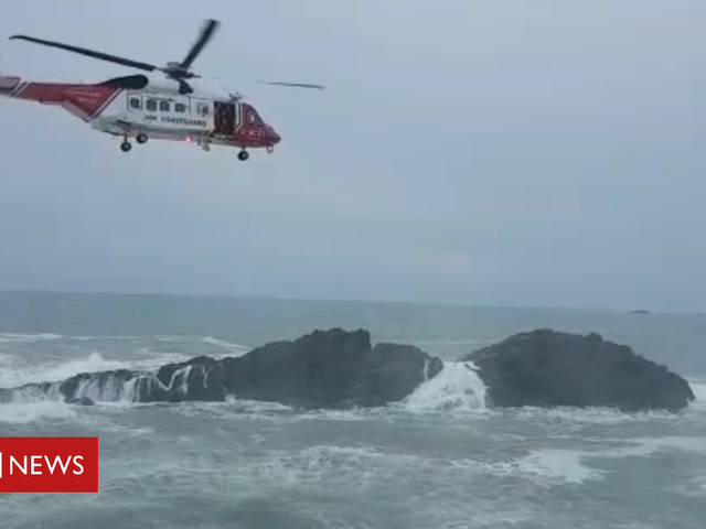 Cornwall angler rescue: Man saved by walkers