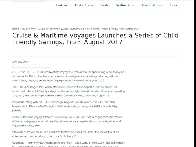 Cruise & Maritime Voyages Launches a Series of Child-Friendly Sailings, From August 2017