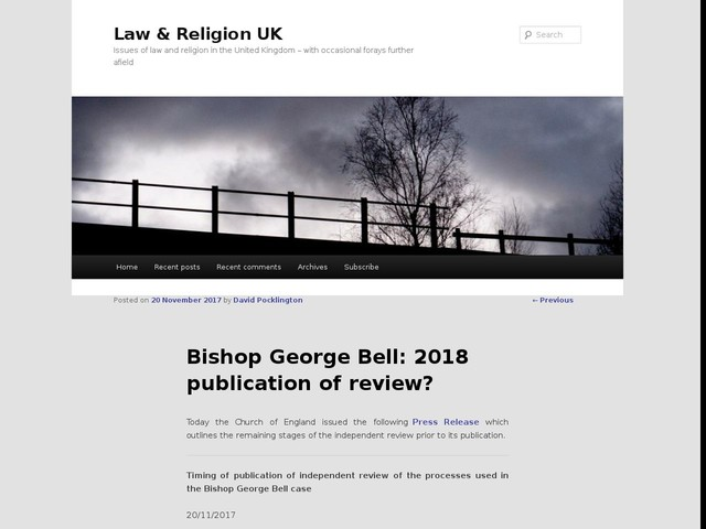 Bishop George Bell: 2018 publication of review?