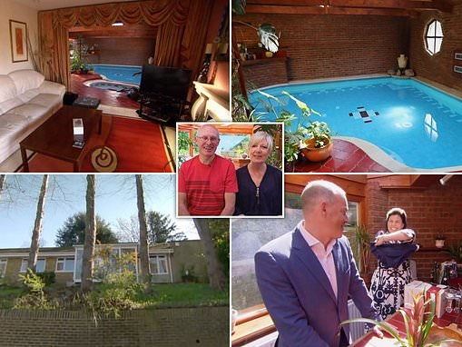 Kirstie Allsopp and Phil Spencer reveal swimming pool in a bungalow living room