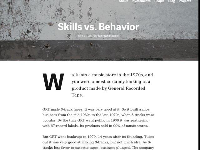 Skills vs. Behavior - Collaborative Fund