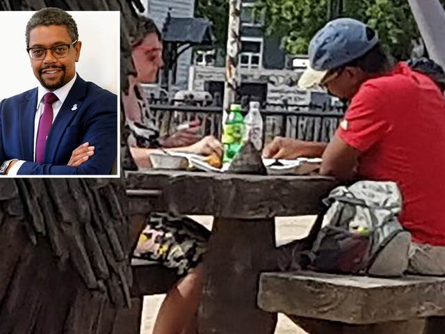 Labour health minister tucks into chips at picnic table after urging Brits to 'stay home and save lives'