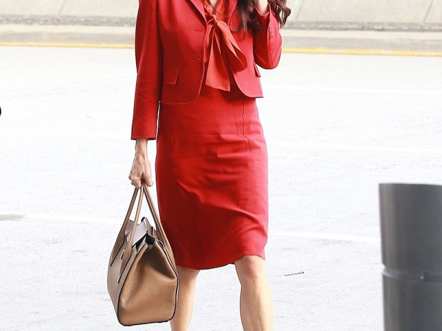 Amal Clooney wore a great, red Bottega Veneta suit to the United Nations