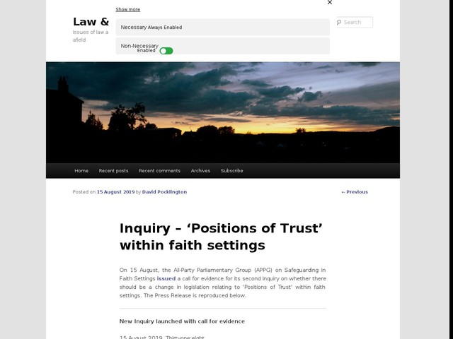 Inquiry – 'Positions of Trust' within faith settings