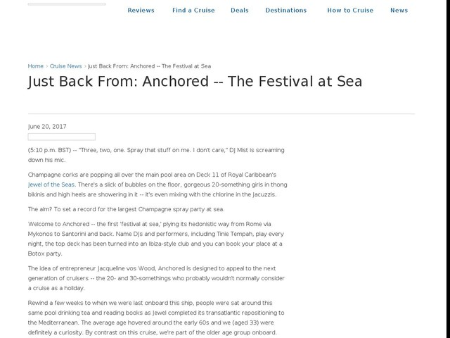 Just Back From: Anchored -- The Festival at Sea