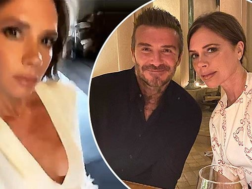 Victoria Beckham struts through the house in a plunging blouse for 21st wedding anniversary
