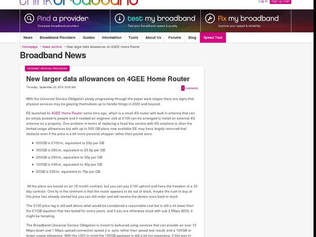 New larger data allowances on 4GEE Home Router