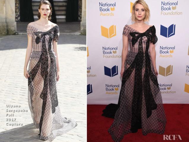 Emma Roberts In Ulyana Sergeenko Couture – 68th National Book Awards