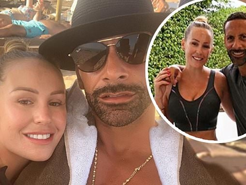 Kate Wright goes makeup free with fiancé Rio Ferdinand on beach getaway