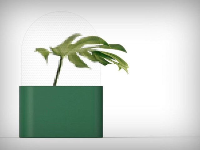 Pixelated Screen Vases - The 'Pixel' Plant Vase Blurs the Image of Greenery to Look Technological (TrendHunter.com)