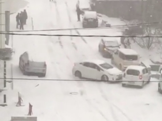 It's snow joke! Slippery Russian road causes mayhem