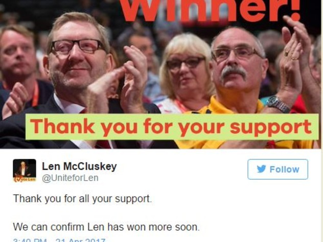 Len McCluskey Claims Victory in Unite Election