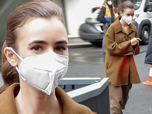Lily Collins makes stylish arrival to Emily In Paris set wearing brown coat and heads into trailer