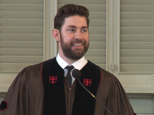 John Krasinski Says 'Remember to Believe in Something' During Brown University Commencement Speech - Watch Now!