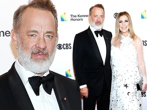 Tom Hanks is dapper in black tie as wife Rita Wilson shines in white frock at Kennedy Center Honors