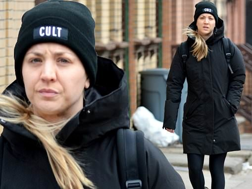 Kaley Cuoco is makeup-free as she keeps warm in Ugg boots during a stroll around chilly