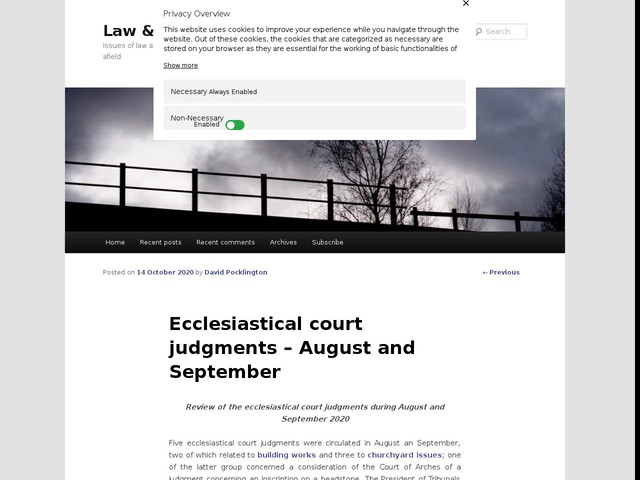Ecclesiastical court judgments – August and September